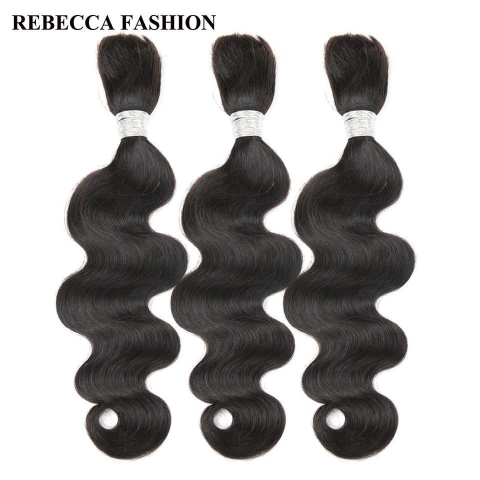 Rebecca Brazilian Remy Body Wave Bulk Human Hair For Braiding Bundles 10 To 30 Inch Color 1B/99J Extensions