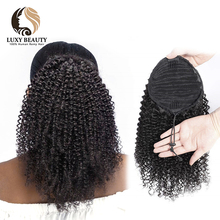 Curly Ponytail Human-Hair-Extensions Remy-Hair Afro Kinky 10--18-brazilian-Hair Clip