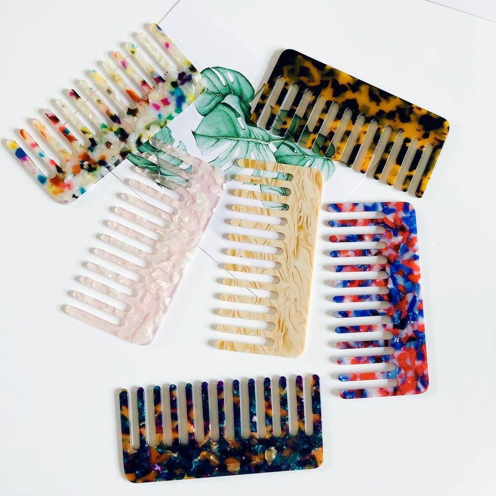 Японская ацетатная расческа для волос с широкими зубьями, в стиле черепахи, натуральная расческа для вьющихся волос, не статическая расческ...