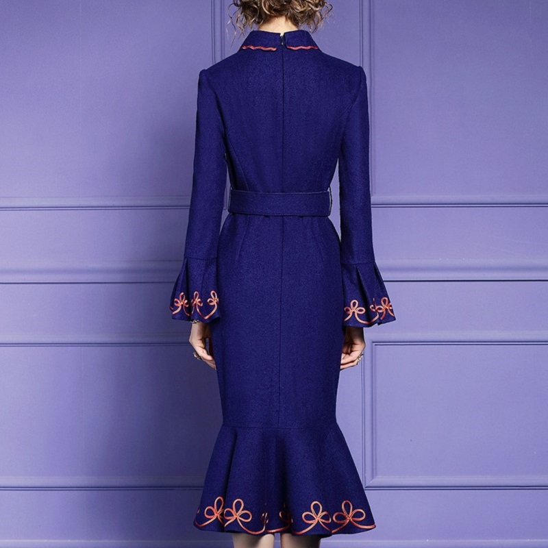 spring 2020 new Luxury Designer Womanliness party dress Women Reception Club Dress Vintage ladies sexy Embroidery winter dresses Women Women's Clothings Women's Dresses cb5feb1b7314637725a2e7: Navy blue