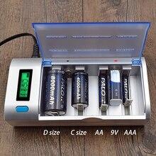 פאלו אינטליגנטי נטענת סוללה LCD תצוגת 1.2V Ni MH AA AAA C D גודל 9V סוללות מטען C סוג פריקה מהיר