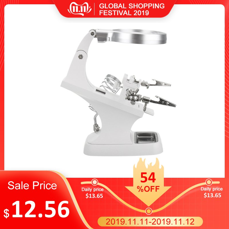 DANIU White LED Light Helping Hand Soldering Stand Magnifying Glass W/ 3x/4.5x Len Magnifier Multi-functional Welding With Clip