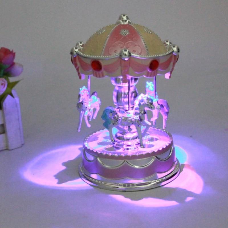 Fashion Children Colorful Lights Shine Carousel Music Box Baby Sound Toys Music Box Christmas Birthday Gift Z