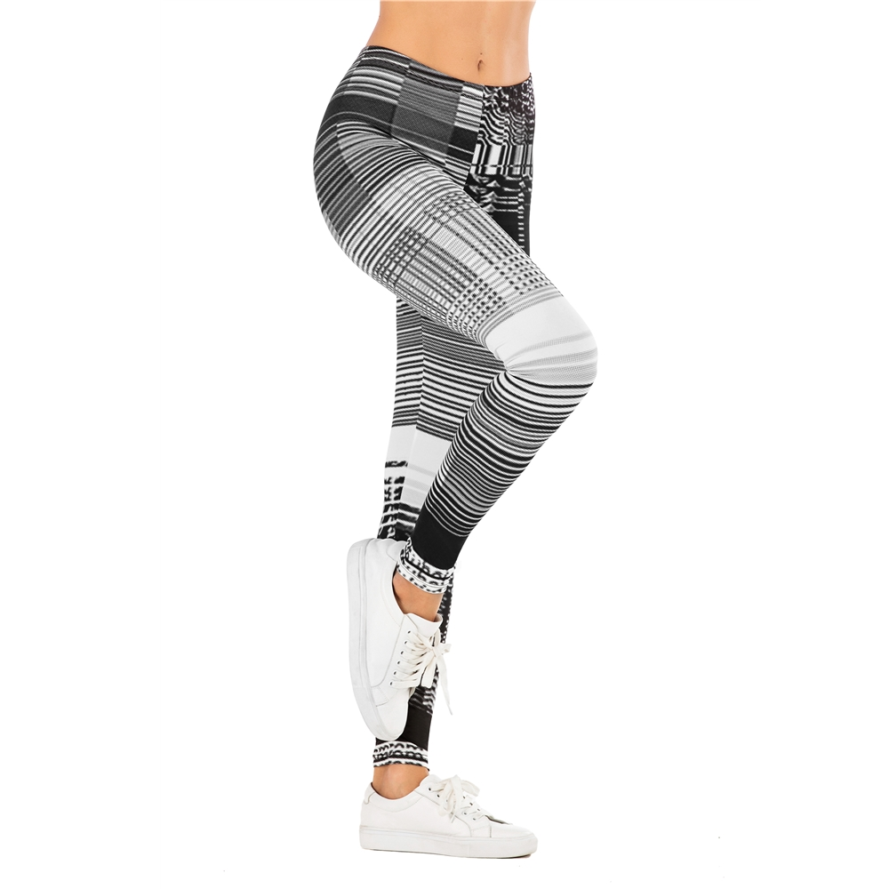 Fashion Women Legging Grid Pattern Printing Fitness Leggins Slim Sexy Legins High Waist Leggings Woman Pants