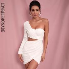 LIEBE & LIMONADE Sexy Weiße Cut Heraus Einzelnen Hülse Glitter Kleber Perle Material Bodycon Party Kleid LM81650