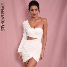 Miłość i lemoniada Sexy biały wyciąć z jednym rękawem klej z brokatem koralik materiał Bodycon Party Dress LM81650