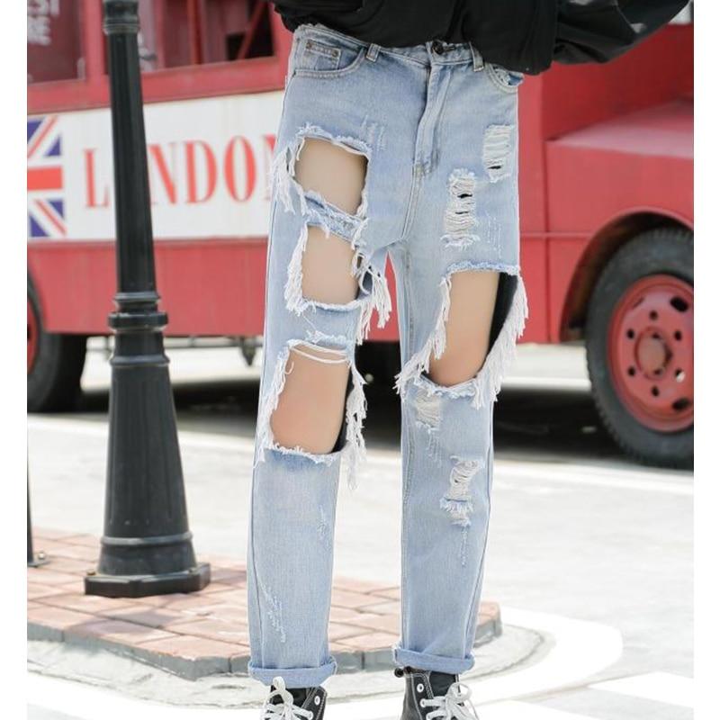 Весенний и осенний Новый светильник, джинсовые штаны с большими дырками, Мужские штаны в стиле хип-хоп с дырками, Мужские штаны большого