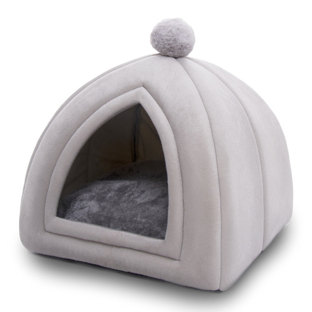Winter Warm Pet Cat Bed House Soft Foldable Non-slip Bottom   2