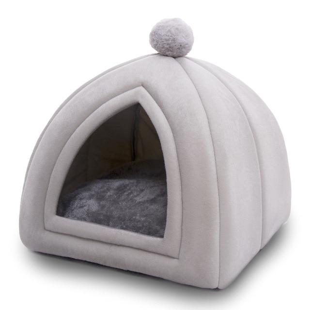 Winter Warm Pet Cat Bed House Soft Foldable Non-slip Bottom 2