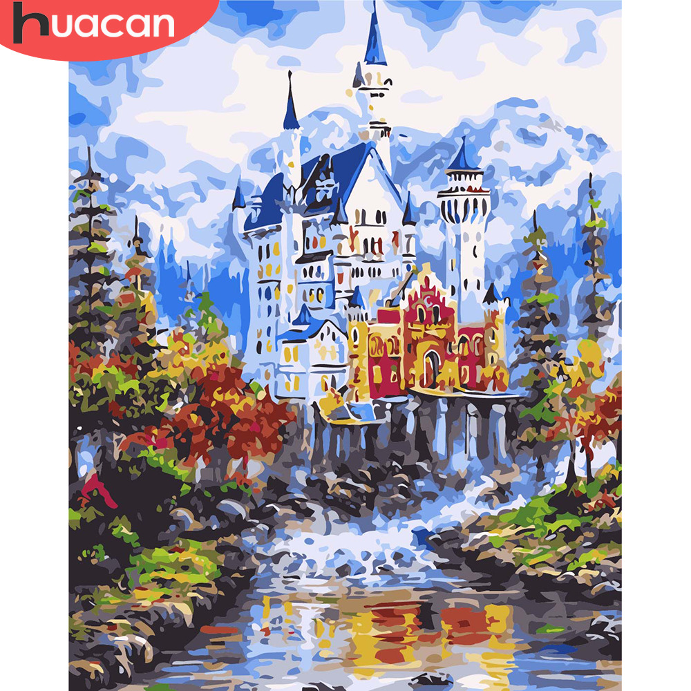 HUACAN Pictures By Numbers City Landscape Wall Art DIY Oil Painting By Numbers Scenery Canvas Painting Living Room