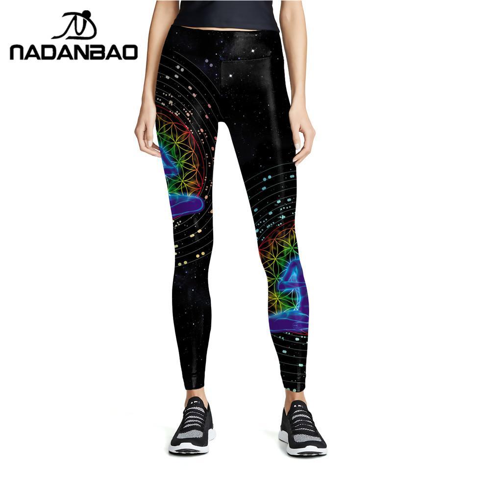 NADANBAO 2020 Fashion Mandala Series Leggings For Women High Waist Fitness Leggins Slim Sexy Legins Trousers Workout Pants