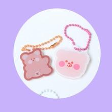 Korean Cute Cartoon Bear Key Chain Student Schoolbag Hanging Chain Earphone Pencil Bag Pendant Creative Decorative Accessories
