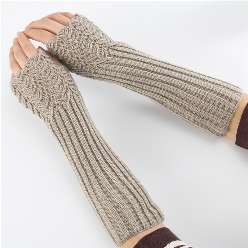 Autumn Winter Women Wool Arm Warmers Knitted Woolen Arm Sleeve Solid Fine Long Knitted Fingerless Gloves Dropshipping