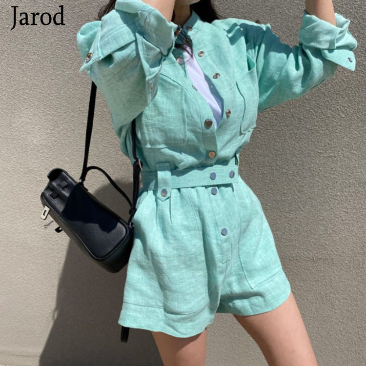 2020 Summer New Fashion Romper Women Casual Linen Beach Playsuits Romper Solid Color Beach Short Jumpsuit Romper