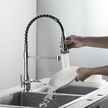 Electroplating Silver Kitchen Faucet Deck Mounted Mixer Tap 360 Degree Rotation Stream Sprayer Nozzle Kitchen Sink Hot Cold Taps donyummyjo best quality wholesale and retail kitchen sink black water faucet 360 degree rotating deck mounted kitchen mixer taps