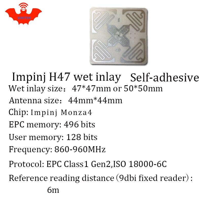 Купить с кэшбэком UHF RFID tag sticker Impinj H47 wet inlay 915mhz 900 868mhz 860-960MHZ Higgs3 EPCC1G2 6C smart adhesive passive RFID tags label