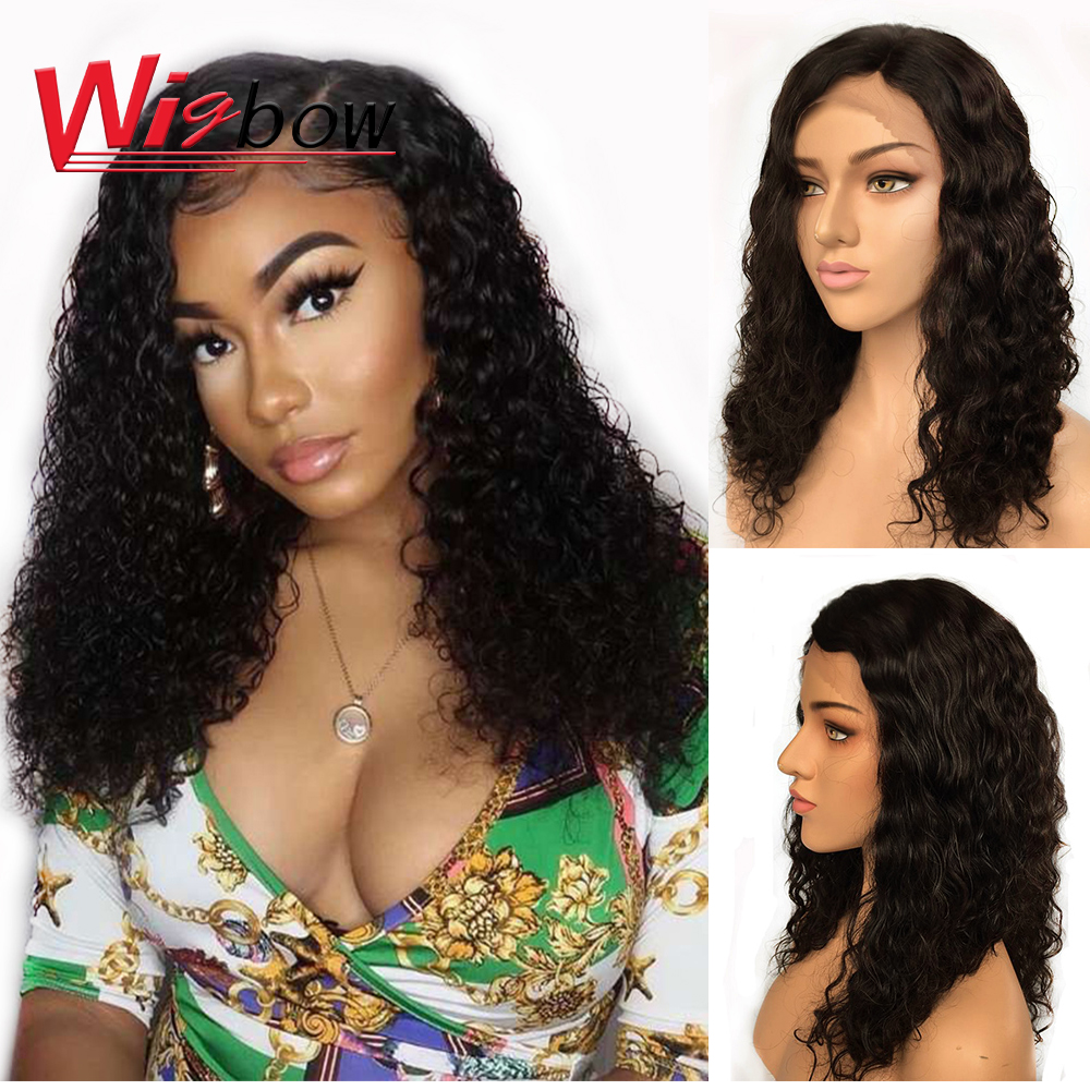 Water Wave Wig Brazilian Curly Human Hair Lace Front Wig 16 Inch Natural Hair Curly 150 Density Human Hair Wig For Black Women