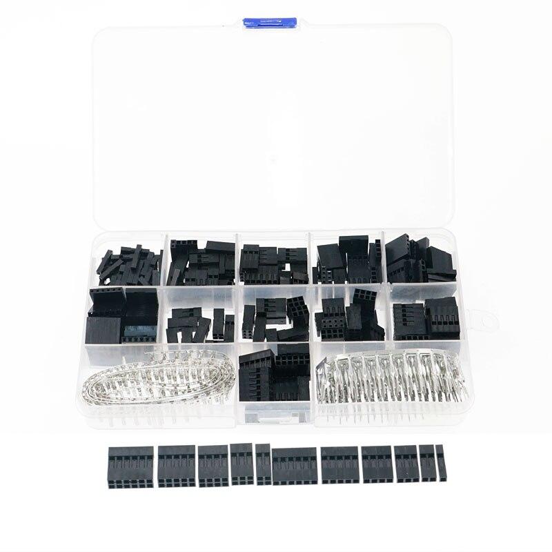 620 pces dupont conector 2.54mm dupont cabo jumper fio pino encabeçamento habitação kit macho pinos de friso + fêmea pino terminal conector