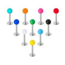 Labret coloré en acrylique Monroe, anneau à lèvres, Tragus Helix, clou, haltère, Cartilage, Piercing, bijoux 16G, 10 pièces