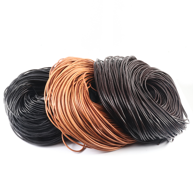 2-5 Meters 100% Genuine Cow Leather Round Thong Cord Leather Cord String Rope for DIY Necklace Bracelet DIY Jewelry Making 1