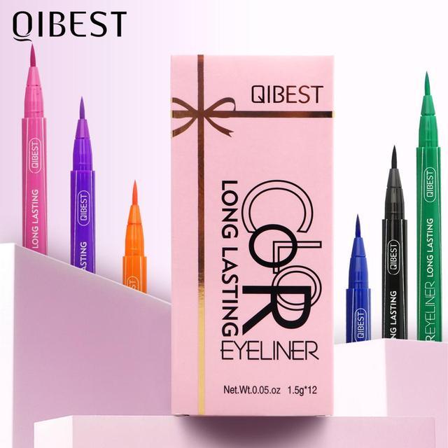 QIBEST-Juego de delineador de ojos colorido, 12 colores, resistente al agua, maquillaje de larga duración, delineador líquido de Ojos de gato, lápiz cosmético 2