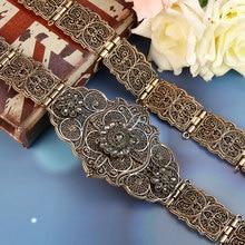 SUNSPICEMS Old Gold Color European Women Belt Full Gray Crystal Ethnic Wedding Dress Caftan Waist Jewelry Bridal Gift Wholesale