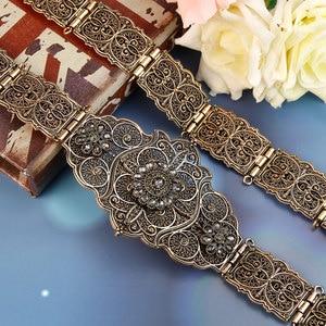 Image 1 - Sunspicems velha cor do ouro europeu feminino cinto completo cinza cristal étnico vestido de casamento caftan cintura jóias presente nupcial atacado