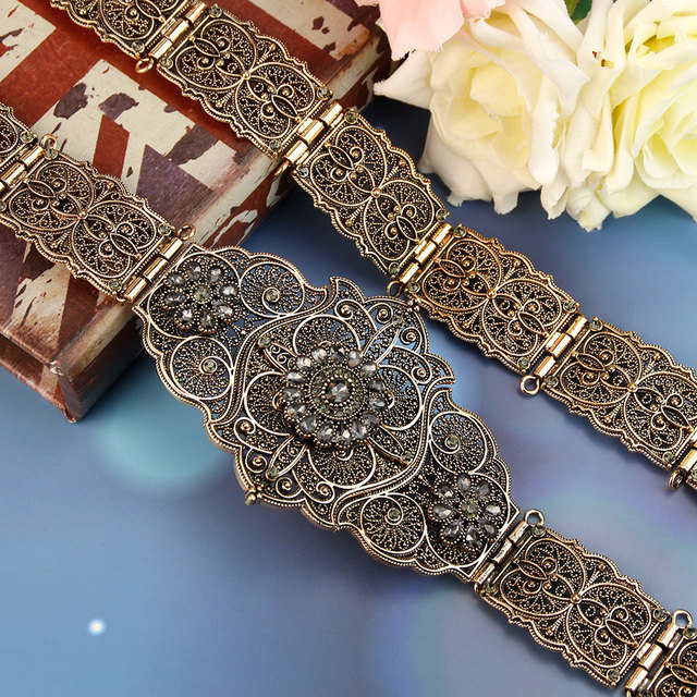 Sunspicems velha cor do ouro europeu feminino cinto completo cinza cristal étnico vestido de casamento caftan cintura jóias presente nupcial atacado