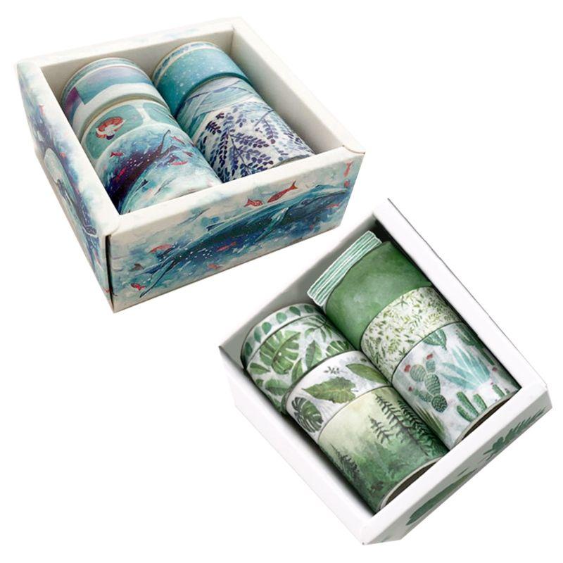 8Pcs Green Leaves Cactus Journal Washi Tape Adhesive Tape DIY Scrapbooking Sticker Label Masking Tapes 667C