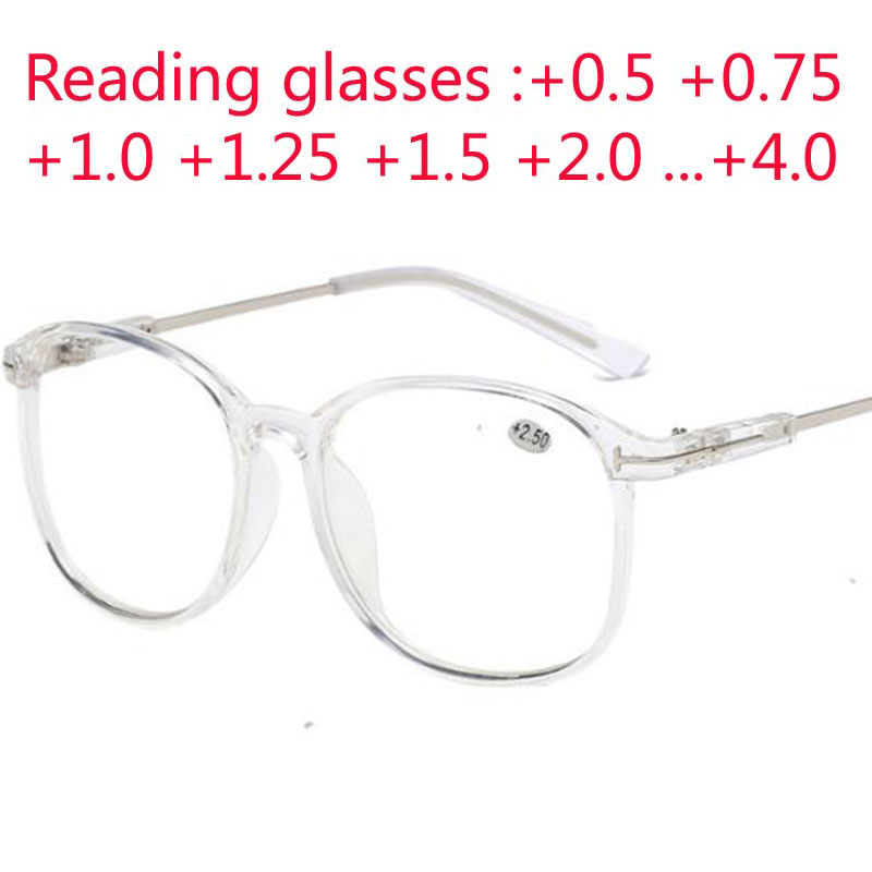 Oversize Big Frame Reading Glasses Presbyopic Eyewear Male Female Far Sight Glasses With Strength +0.5 +0.75 +1.0 +1.25 To +4.0
