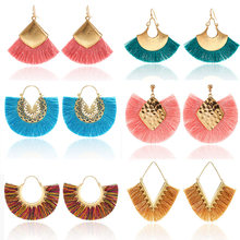2019 New Trendy Fringed Tassel Drop Earring for Women Geometric Bohemian Statement Handmade Vintage Party Wedding Dangle Earring(China)