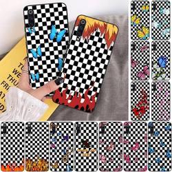 Бабочка пламени черный и белый цвета в клетку чехол для телефона для Xiaomi Note Mi Max 3 7 8 9se Redmi 7 7a 8 8t 10 Pro Lite чехол Крышка