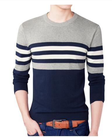 Men 2001 Fall Fashion Casual Striped Cotton Sweater Men O-Neck Warm 100% Cotton Knitted Sweaters Men's Plus Size Sweaters Coat