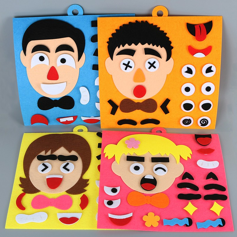 DIY Emotion Facial Expression Change Non-woven Stickers Puzzle Kids Educational Toys