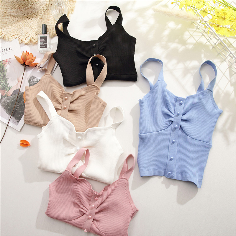 HELIAR 2020 Summer топ Female V-Neck Buttoned Up Crop Tops Women Tops Pleated Spaghetti топ женский Camis For Women Tops