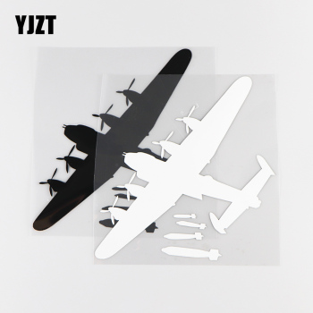 YJZT 15.6X16.6CM Personality Car Stickers Novelty Aircraft Dropping Bombs Vinyl Decals Black / Silver 10A-0007 image