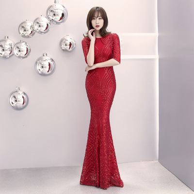 2020 Gengli Long Noble, Elegant And Dignified Show Thin Fish Tail Host Annual Meeting Performance Evening Dress Autumn Winter