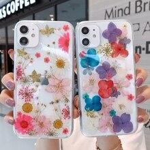 Luxo macio seco flor transparente caso de telefone para iphone 11 12 pro max xs x xr 7 8 plus se 2020 mini casos à prova de choque capa