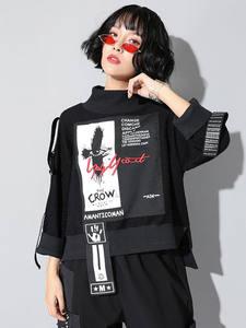 Футболка XITAO Женская, с принтом и надписью, Новый Модный пуловер в стиле пэтчворк с высоким воротом, прямой осенний свитер ZLL4239, 2019