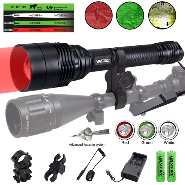 C11 Tactical Zoomable Hunting Flashlight XRE Red Green White Predator Light LED Focus Adjustable Torch Outdoor Rifle Gun Light 6