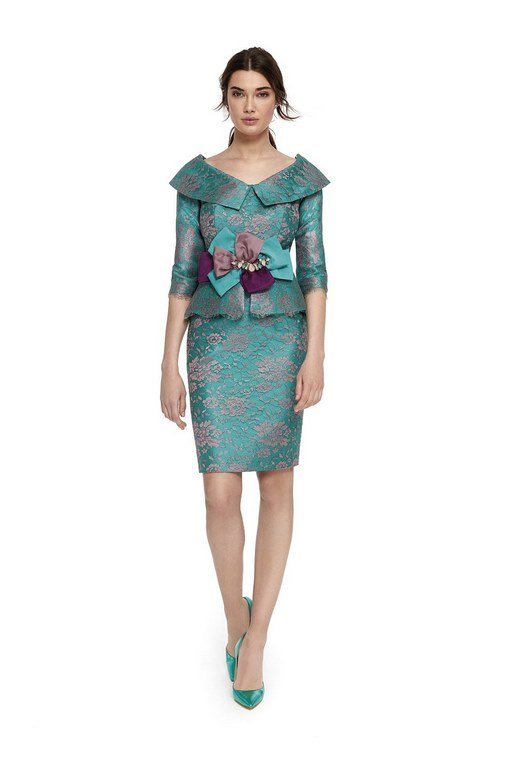 turquoise lace boat neckline with lapel and peplum waist mother of bride suits mother of bride peacock color lace top skirt suit