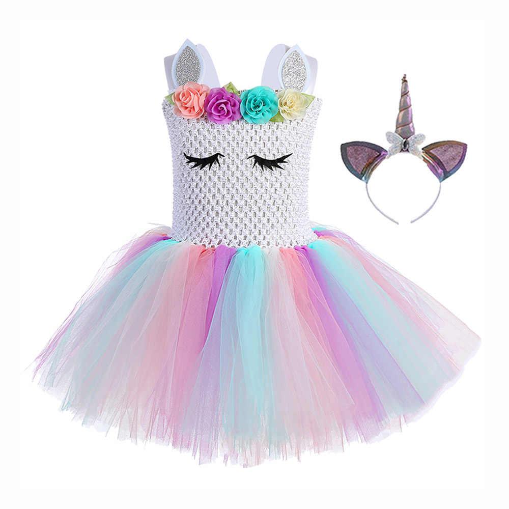 Noel prenses küçük kızlar elbise midilli diz boyu Lol sürpriz elbise genç Unicorn Tutu elbise Unicorn kafa bandı melek kanatları