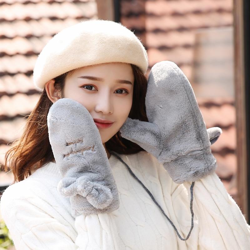 Gloves Female Winter Cute Rabbit Korean Sweet Student Hanging Neck Gloves Plus Velvet Warm Autumn And Winter Plush Mittens