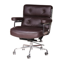 Classic Retro Robin Chair, Home Office Desk Chairs, Swivel Genuine Leather Executive Arm Chair with Adjustable Height Function