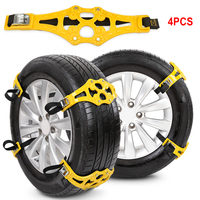 4PCS/Set Universal Anti Slip Car Tire Snow Chains For Ice Sand Muddy Vehicles Tire Anti Skid Chains Winter Roadway Safety