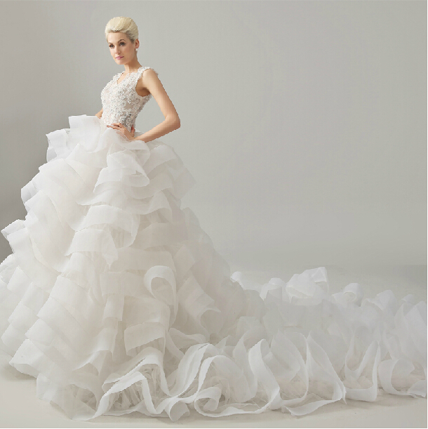 Casamento Romantic New Robe De Mariage Tiered Beading Vestido De Novia Lace Wedding Dress 2016 Bridal Ball Gown Free Shipping