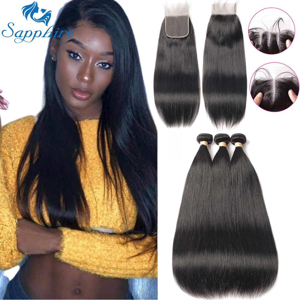Sapphire Malaysian Hair Bundles With Closure Straight Hair Bundles With Closure Natural Human Hair Bundles With Closure Remy