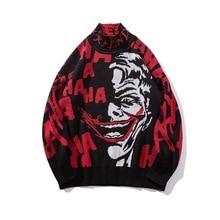 #1537 Korean Fashion Turtleneck Sweater Men Plus Size Loose Funny Clown Pattern Black Hip Hop Sweater Men Pulover Hombre Autumn pulover flora fedi href
