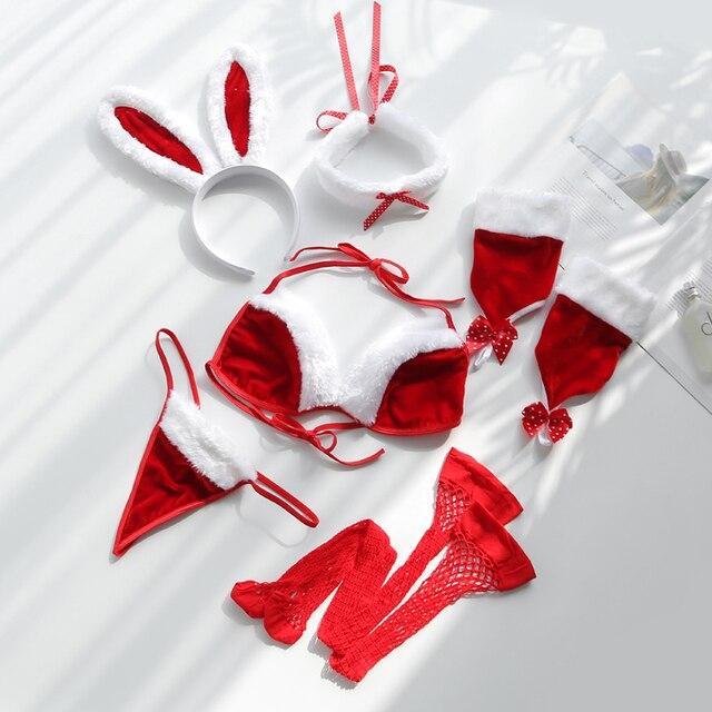 Playful Adult Women Rabbit Bunny Christmas Cosplay Costume Party Sexy Bikini Erotic Lingerie Fancy Babydoll Sexy Santa Dress