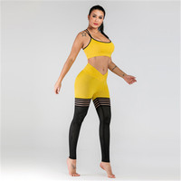 2019 New Women's Sportswear Openwork Mesh Breathable Gym Set Yoga Two piece Suit Running Fitness Suit